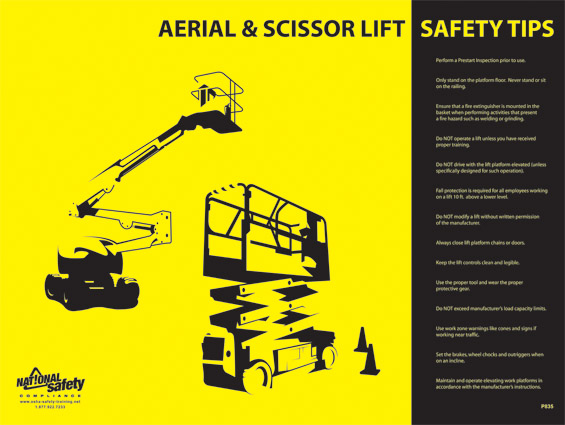 Poster Aerial And Scissor Lift Safety Tips Abc Safety